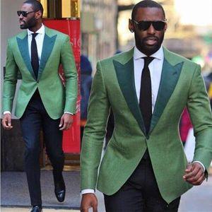 Green Business hommes Costumes 2 pièces (veste + pantalon) de haute qualité Slim Fit Blazer costumes de bal officiel Mode Vêtements