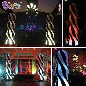 2.4mH illuminazione decorazione festa in bianco e nero, decorazione in bianco e nero, colonna pilastro gonfiabile a led - giocattoli