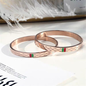 Trendy Bangle for Women Red and Green Charm Stainless Steel Gold Plating Jewelry Lover Bangle Wedding Female Bangle