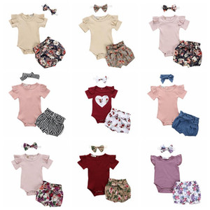Baby Girl Clothes Solid Infant Girls Romper Flower Short Pants Headband 3pcs Sets Short Sleeve Children Outfits Summer Baby Clothing DW5261