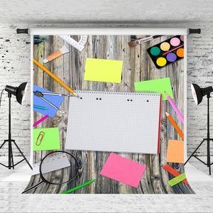 Dream 5x7ft 사진을위한 학교 배경으로 돌아 가기 Retro Wood Background 어린이 아기 학교 촬영 책 연필 배경 화면 사진 스튜디오