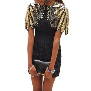 Black Plus Size Sequin Shoulder Cocktail Party Dress Vestidos De Fiesta De Noche Vestidos Verano 2020 Mujer Bodycon Dress XL