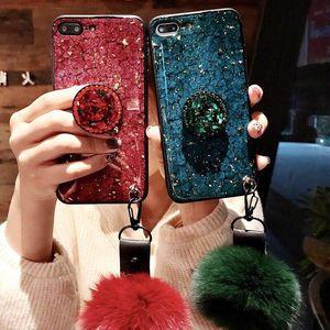 Luxury Glitter Sparkle Gold Foil Marble Diamond Holder Lindo Bola de Piel Colgante de Silicona Delgada Cubierta de la caja del teléfono para el iPhone 6 7 8 Plus Xs Max XR