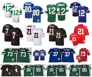 Jersey retro 21 Deion Sanders 4 Brett Favre 7 Michael Vick 12 Joe Namath 73 Joe Klecko 80 Steve Largent 12 Ventilador Marcos Gastine MN Fútbol