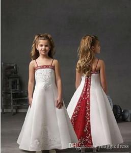 Sevimli Küçük Çiçek Kız Elbise Düğün Spagetti Kırmızı Ve Beyaz İlk Communion Elbise Nakış Uzun Custom Made Kızlar Yarışması Elbise
