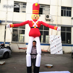 Customized Giant Walking Inflatable Soldier Puppet Balloon 3.5m Multicolor Blow Up Clown Costume For Parade Show