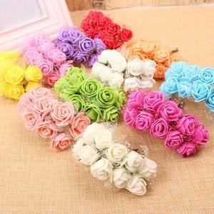 2.5CM Diámetro (144pcs / lot) Multicolor PE Rose Foam Mini Flores de seda artificiales Ramo Decoración de la boda Guirnaldas de bricolaje