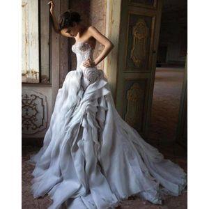 New Luxury Designer Mermaid Wedding Dresses Sweetheart Neck Ruffle Skirt Bridal Gowns Crystal Beads Illusion Lace Wedding Dress Custom Made