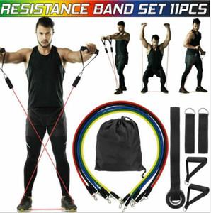 11pcs / Set Doğal Kauçuk Lateks Spor Direnç Gruplar Egzersiz Tüpler Pratik Elastik Eğitim Halat Yoga Çekme Halat Pilates