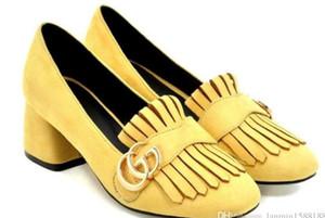 2020 zapatos de las mujeres en primavera y otoño con nuevo estilo talón grueso talón Medio Cabeza cuadrada de gamuza @ WWWW188W