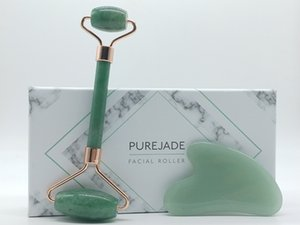 Double Head Jade Facial Roller and Gua Sha Set Natural Skin Care Face Roller for Lymphatic Drainage, Face, Neck and Eyes