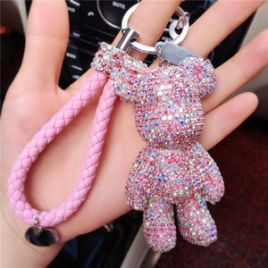 Luxus Nette Bling Violent Bear Volle Strass Gy Bär Keychain Auto Schlüsselanhänger Ring Anhänger Für Taschenanhänger Hotsale Geschenke
