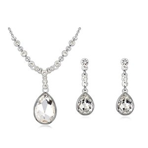 High quality Montana color drop necklace earrings set Made with Swarovski Elements for bridal wedding party luxurious bijoux accessories