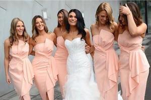 Allık Kolsuz Gelinlik Modelleri Ayak Bileği Uzunluğu Saten Hizmetçi Onur Elbise Resmi Düğün Misafir Elbiseler Parti Kıyafeti 2020 Yeni