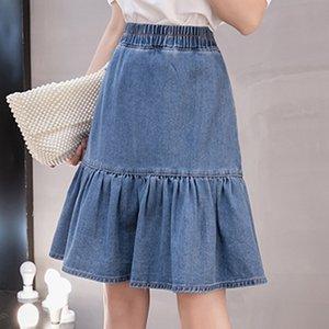 Female Jeans Skirt Plus Size S-5XL Elastic High Waist Cowboy Fashion Women Vintage Casual Washed Flounced Denim Skirt