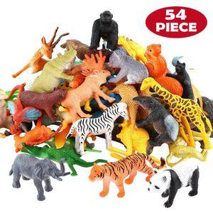 54 Pcs Mini Jungle Animal Toys Set Realistic Wild Plastic Animals Learning Toys Elephant Gazelle Giraffe Gnu Gorilla Lion Tiger CX200604