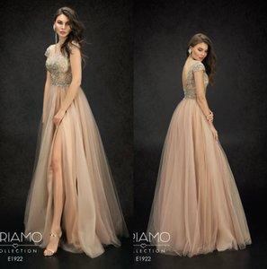 Perline 2019 Berta Abiti da sera scollo a V corpetto in pizzo lunghezza del pavimento Backless Prom Dress Side Split Custom Made A Line robes de soirée