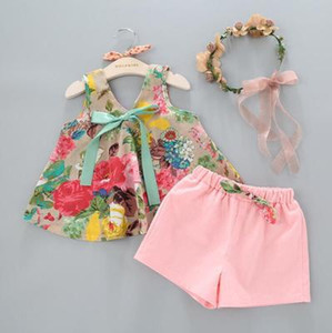 Free shipping 2pcs kids clothing girl's outfits Girls floral tank vest tops+shorts children bowknot suit kids summer boutique clothes
