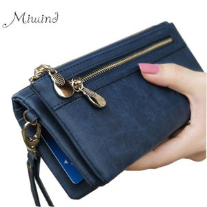 Wholesale- Scrub Leather 2017 Women Wallet Double Zipper Female Clutch Purse Wristlet Coin Holder Handbags Trifold Slim Cuzdan