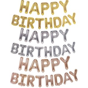 décorations ensemble ballon d'or 16 pouces ballon aluminium lettre « Happy Birthday » pour la décoration de fête d'anniversaire