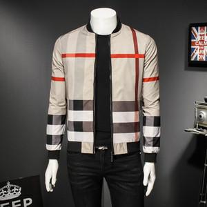 Para hombre de la marca chaquetas activa Escudo impresión de la raya fina casual para hombre estilo británico ropa de otoño 4 Estilos tamaño asiático M-5XL