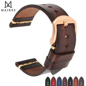 Maikes en cuir véritable pour Galaxy Bracelet Bracelet 18mm 20 mm 22 mm 24 mm Montre bande Tissote Timex Omega poignet Bracelets CJ191225