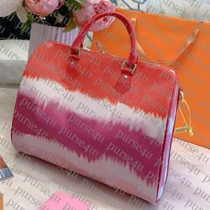 Kadın Lüks Çanta Cüzdanlar Batik Boston Bag Yaz Koleksiyonu Escale için Tasarımcı Boston Bag 30cm Lüks Pastel Boston
