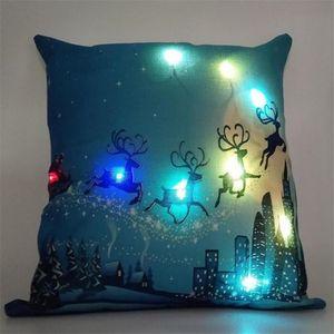 LED-Licht-Kissenbezug Luminous Weihnachtsdeko Kissenbezug Weihnachtsmann-Ren Pillowcase Sofa-Auto-Dekor Leinen Kissenbezüge IN