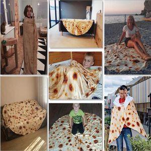 Couverture tortilla Lettre d'impression Tapis rond Burrito petit tapis 3D Imprimé Climatisation Couverture Literie serviette Couverture Throw LXL972-1
