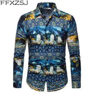 FFXZSJ printemps et automne 2019 nouveaux hommes chemise à manches longues paysage occasionnels imprimés hommes chemise à manches longues col rabattu