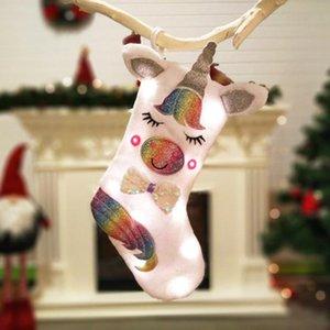 Décoration de Noël Unicorn Cartoon animaux en peluche suspendu Stocking avec la lumière Candy Bag Party cadeaux Sac de fête Fournitures ZZA1142