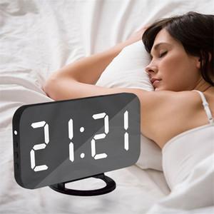 Bella casa multifunzione LED specchio allarme arte orologio da parete digitale porta moderna specchio elettronico snooze analogico regalo orologio da tavolo
