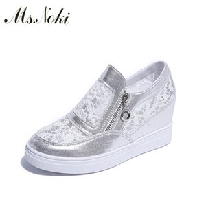 Hot 2019 Platform Fashion Casual Air Mesh Mujeres Zapatos casuales Air Mesh Quality Wedges Zapatos de lona Mujer Zip Ms Noki Wedge shoesMX190830