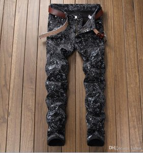 2018 new autumn Men's full printing straight Jeans black Causal Denim stitch creases style fashion jeans free shipping size 29-38 5614