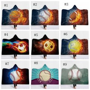 غطاء مقنعين الرياضة لبس أغطية الصوف 3D مطبوعة رمي بطانية كرة السلة البيسبول Socceball مطبوعة 12 تصاميم الاختياري DSL-YW1620
