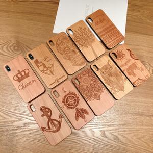 Gravure au laser en bois véritable cas de téléphone portable pour iPhone XS MAX XR 7 8Plus X Bois Unique Shock sur mesure Bamboo Shell Téléphone Couverture