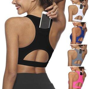 Women Stretch Phone Pocket Hollow Workout Padded Tank Top Gym Running Yoga Sports Bra T200601
