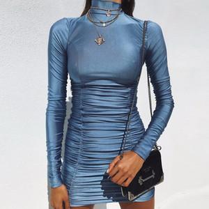Vêtements pour dames Automne et hiver sexy Cultiver soi-même Col haut Manches longues pliées Fesses Jupe crayon Robe moulante
