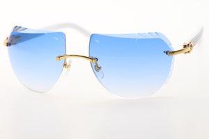 2020 venta al por mayor gafas de sol sin montura blanca 8200763 Plank Lentes de alta calidad de la marca de fábrica Gafas de sol unisex nuevo escudo óptico C Decoración