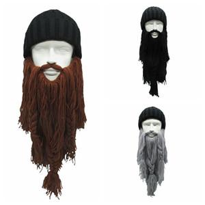High Quality Women Men's Warm Wool Handmade Beanie Viking Beard Face Mask Crochet Winter Ski Cosplay Prop Caps Hats Funny Gift C18112301