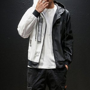 2019 Moda feminina preto e branco empalme com capuz fino blusão com zíper casaco Tamaño de dos EUA