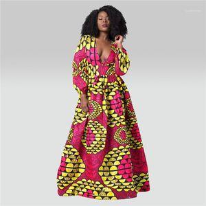 Waist Dresses V Neck Casual Long Dress 2020 Womens Designer Dress Long Sleeve Digital Print High