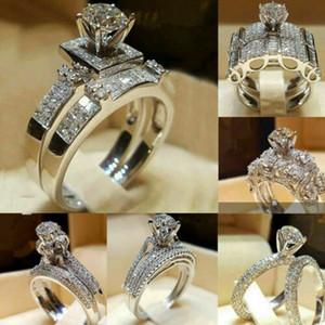 Moda 925 Silver Filled Wedding Set Anillos Corte Redondo Blanco Zafiro Tamaño 6-9 Anillo de Bodas Joyería de Compromiso para las mujeres