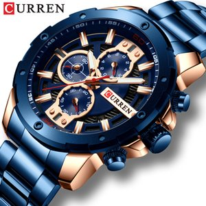 CURREN Sport New Men Watch Stainless Steel Band Quartz Wristwatch Military Chronograph Clock Male Fashion Watch Waterproof 8336