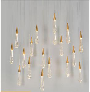 Lámpara de lámpara de araña de cristal de gota de agua de lujo LED Luz de colgante de estilo europeo Iluminación de araña de cristal para sala de estar Decoración del restaurante