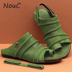 NouC Vintage-Comfort Buckle-Riemchen-Sandalen der Frauen beiläufige lederne Ebene-Sandelholz Femme Slip on-Sommer-Strand 2020