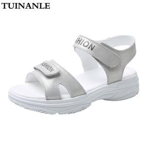 Sandales de femme TUINANLE dames d'été Mode d'argent sandales plates comfortble Chaussures Toe Open Platform Sandalias Mujer 2020 Rose