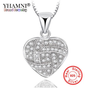 YHAMNI Original 925 Pendentif Coeur en Argent et Colliers Bijoux Romantiques pour Femmes Filles Cadeau de Mariage Copine Femme Cadeau LZD009