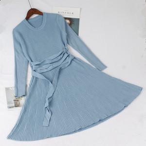 GIGOGOU con cordones Otoño Invierno Cálido Vestido de suéter para mujer Vestidos de mujer gruesos de una línea Vestidos de plisado de punto de costilla delgada