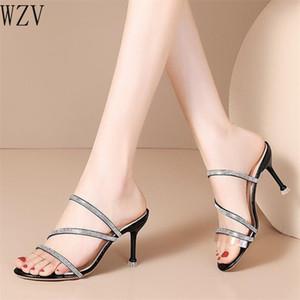 2020 New Design Crystal Women Slipper Ladies Thin High Heel Sandal Open Toe Slip on Summer Outdoor Slides Flip Flop Shoes H798